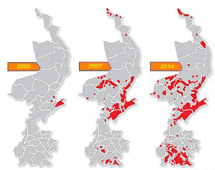Wilde zwijnen voorkomen Limburg 2000-2014